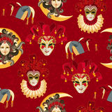 Seamless pattern with carnival venetian colorful mask on traditional background. Design T-shirts with venetian mask, clown face in grungy style. Mardi gras Stock Images
