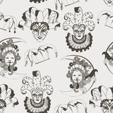 Seamless pattern with carnival venetian colorful mask on traditional background royalty free stock photo