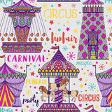 Seamless pattern with carousel and tent. Circus theme. Stock Photo