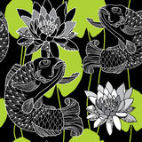 Seamless pattern with carp in black and water lily Stock Photo