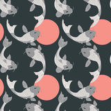 Seamless pattern with carp koi fish and sun, traditional japanes Royalty Free Stock Photos