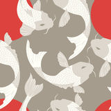 Seamless pattern with carp koi fish and sun, traditional japanes Royalty Free Stock Photo