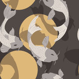 Seamless pattern with carp koi fish and sun, traditional japanese art Royalty Free Stock Images