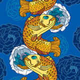 Seamless pattern with carp koi in gold and chrysanthemum Royalty Free Stock Images