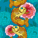 Seamless pattern with carp koi in gold and pink chrysanthemum Stock Photo