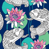 Seamless pattern with carp and water lily in pink Royalty Free Stock Photos