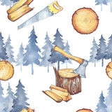 Seamless pattern with carpentry tools. Watercolor axe, firewood and trees. Profession instruments. Men`s work. Seamless pattern with carpentry tools. Profession Stock Photo