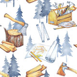 Seamless pattern with carpentry tools. Watercolor axe, roulette, blueprints, toolbox, firewood and trees. Profession Royalty Free Stock Photography