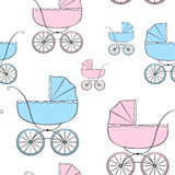Seamless pattern with carriages 2 Royalty Free Stock Photography