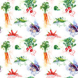 Seamless pattern with carrot, chili pepper, broccoli, radish, eggplant, peas. Royalty Free Stock Photos
