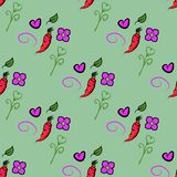Seamless pattern with carrots and cute orange, heart and flower on green background. It can be used for packaging, wrapping paper. Textile and etc. Vector vector illustration