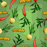 Seamless pattern with carrots and onions. Royalty Free Stock Image
