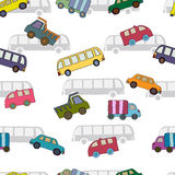 Seamless pattern with cars and bus. Stock Images