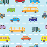Seamless pattern with cars. Decorative background with cars and buses Royalty Free Stock Photography