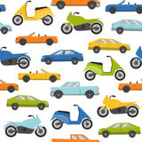 Seamless pattern with cars and motorbikes Stock Photography