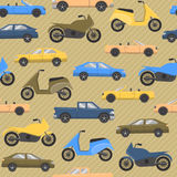 Seamless pattern with cars and motorbikes Royalty Free Stock Image