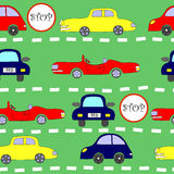 Seamless pattern with cars. Seamless pattern with moving rows of classic cars Royalty Free Stock Images