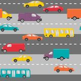 Seamless pattern with cars on the road Royalty Free Stock Images