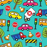 Seamless pattern with cars and traffic signs Stock Photos
