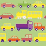 Seamless pattern with cars. Trucks and train Stock Photo
