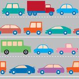 Seamless pattern with cars. Trucks and train Royalty Free Stock Photos