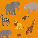 Seamless pattern with cartoon african animals. Endless orange background with lion elephant zebra giraffe rhino hippo vulture turtle. Vector illustration Royalty Free Stock Image
