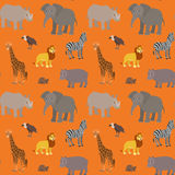 Seamless pattern with cartoon african animals. Endless orange background with lion elephant zebra giraffe rhino hippo vulture turtle. Vector illustration Stock Illustration
