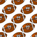 Seamless pattern of cartoon American footballs Stock Image