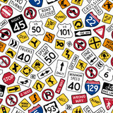 Seamless pattern of cartoon american road signs. Vector hand-drawn traffic signs background. Boundless texture can be used for web page backgrounds, wallpapers Stock Images