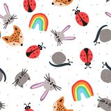 Seamless pattern with cartoon animal faces royalty free illustration