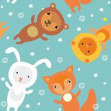 Seamless pattern with cartoon animales Royalty Free Stock Photography