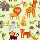 seamless pattern with cartoon animals Stock Images