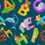 Seamless pattern with cartoon animals alphabet for children education. Vector illustrations Royalty Free Stock Photos