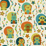Seamless pattern with cartoon  animals Stock Image