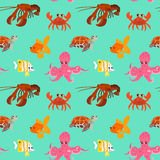 Seamless pattern with cartoon animals. Funny endless background with crab gold fish octopus squid and turtle. Vector illustration Royalty Free Stock Photo