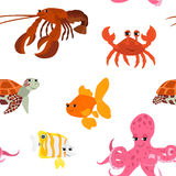 Seamless pattern with cartoon animals. Funny endless background with crab gold fish octopus squid and turtle. Vector illustration Stock Images