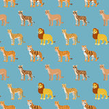 Seamless pattern with cartoon animals. Funny endless background with lion leopard cheetah ocelot puma and tiger. African pattern. Vector illustration Stock Image