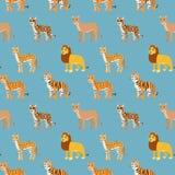 Seamless pattern with cartoon animals. Stock Image