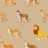 Seamless pattern with cartoon animals. Funny endless background with lion leopard cheetah ocelot puma and tiger. African pattern. Vector illustration Royalty Free Stock Image