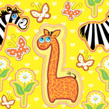 Seamless pattern with cartoon animals Royalty Free Stock Images