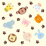 Seamless pattern cartoon animals, vector background Stock Photos