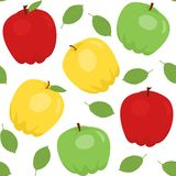 Seamless pattern with cartoon apples Stock Photos