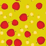 Seamless pattern with cartoon apples. Fruits repeating background. Endless print texture. Wallpaper 579 Stock Image
