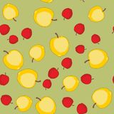 Seamless pattern with cartoon apples. Fruits repeating background. Endless print texture. Wallpaper 578 Stock Image
