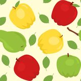 Seamless pattern with cartoon apples and pear Royalty Free Stock Photos
