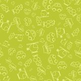 Seamless pattern with cartoon baby transport Royalty Free Stock Photos