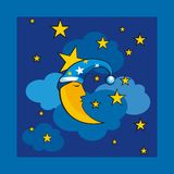 Seamless pattern cartoon backround. Pattern seamless background, cute with moon, stars. clouds and sky Stock Images