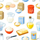 Seamless pattern with cartoon baking ingredients. Stock Photography
