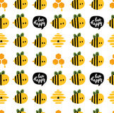 Seamless pattern with cartoon bees and beehive for design Royalty Free Stock Photos