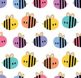 Seamless pattern with cartoon bees for design fabric, backgrounds, wrapping paper Royalty Free Stock Photo